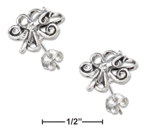 STERLING SILVER MINI OCTOPUS EARRINGS ON STAINLESS STEEL POSTS AND