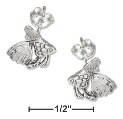 STERLING SILVER MINI GOLDFISH EARRINGS ON STAINLESS STEEL POSTS AND