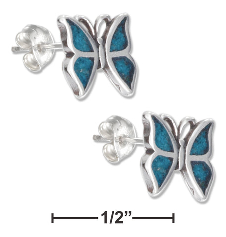 STERLING SILVER SIMULATED TURQUOISE BUTTERFLY EARRINGS STAINLESS STEEL
