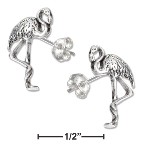 STERLING SILVER MINI FLAMINGO EARRINGS ON STAINLESS STEEL POSTS AND