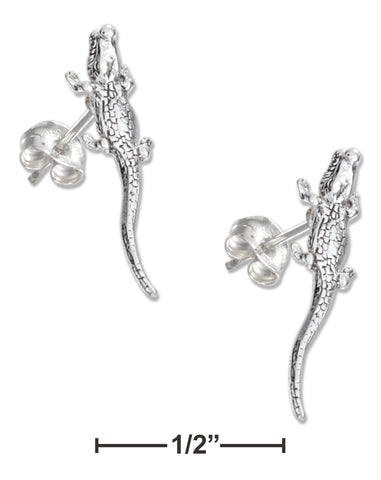 STERLING SILVER MINI ALLIGATOR EARRINGS ON STAINLESS STEEL POSTS AND