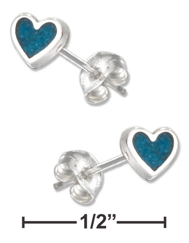 STERLING SILVER SIMULATED TURQUOISE HEART EARRINGS ON STAINLESS