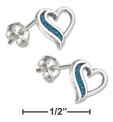 STERLING SILVER SIMULATED TURQUOISE HEART EARRINGS STAINLESS STEEL