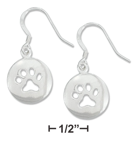 STERLING SILVER 15MM DISK WITH PAW PRINT EARRINGS