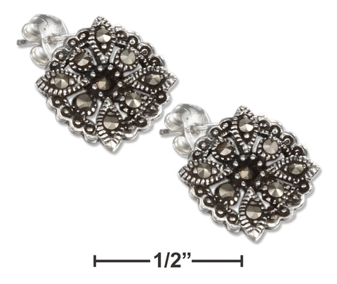 STERLING SILVER 12MM FILIGREE SUNBURST MARCASITE POST EARRINGS