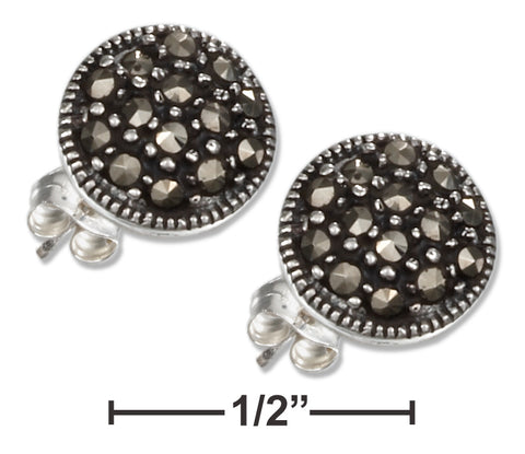 STERLING SILVER 9MM MARCASITE BUTTON POST EARRINGS