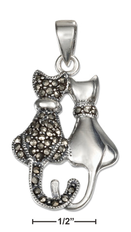 STERLING SILVER HIGH POLISH AND MARCASITE SITTING CAT PENDANT