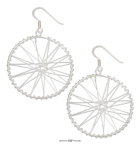 STERLING SILVER LARGE BICYCLE WHEEL EARRINGS ON FRENCH WIRES