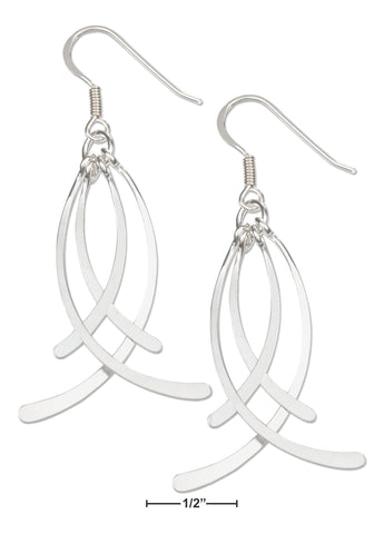 STERLING SILVER LAYERED FOUR DROP SPOON EARRINGS ON FRENCH WIRES