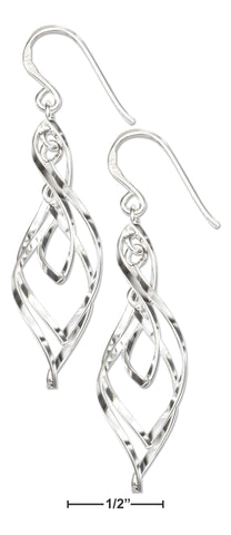 STERLING SILVER TRIPLE TWISTED DESIGNER EARRINGS ON FRENCH WIRES