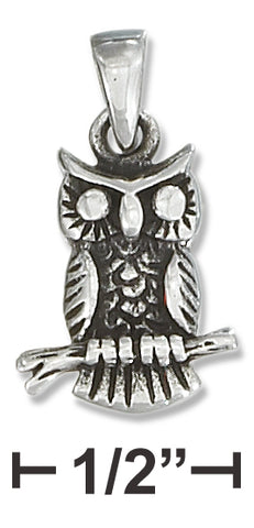 STERLING SILVER ANTIQUED OWL ON A BRANCH PENDANT