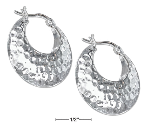 STERLING SILVER PUFFED TAPERED HAMMERED HOOP EARRINGS WITH FRENCH