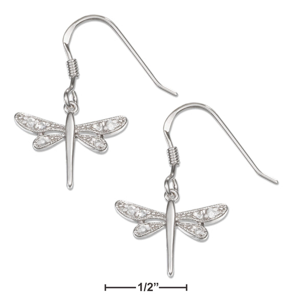 STERLING SILVER MINI CUBIC ZIRCONIA DRAGONFLY FRENCH WIRE EARRINGS
