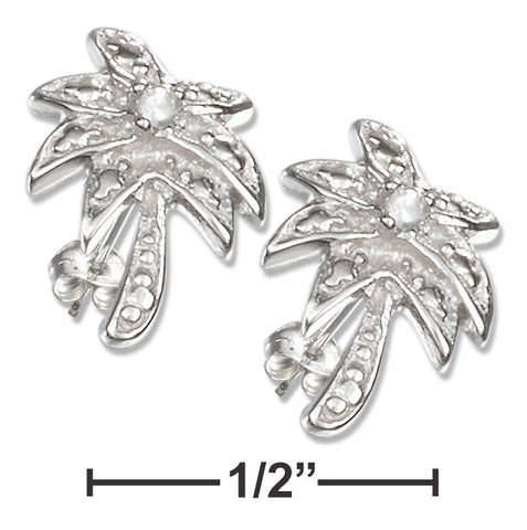 STERLING SILVER MINI PAVE CUBIC ZIRCONIA PALM TREE POST EARRINGS