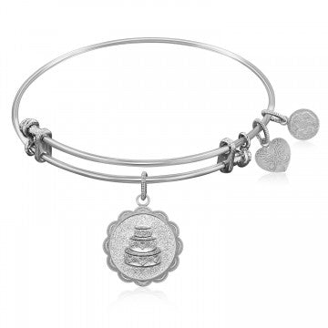 Expandable Bangle in White Tone Brass with Wedding Day Symbol