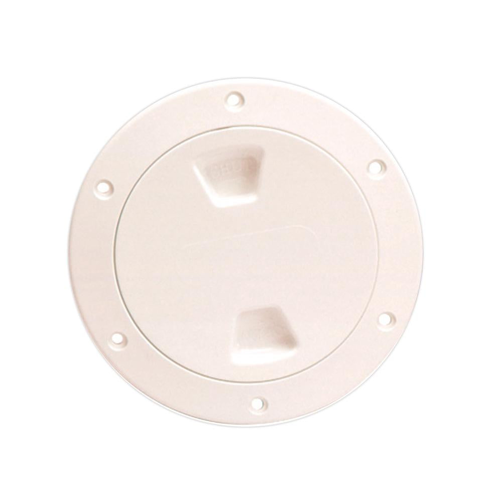 "Beckson 4"" Smooth Center Screw-Out Deck Plate - Beige - Lightship Marine Outfitters"