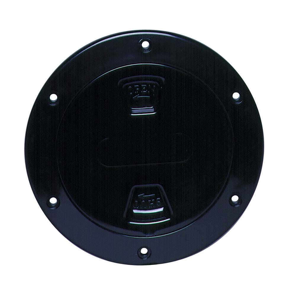 "Beckson 4"" Smooth Center Screw-Out Deck Plate - Black - Lightship Marine Outfitters"