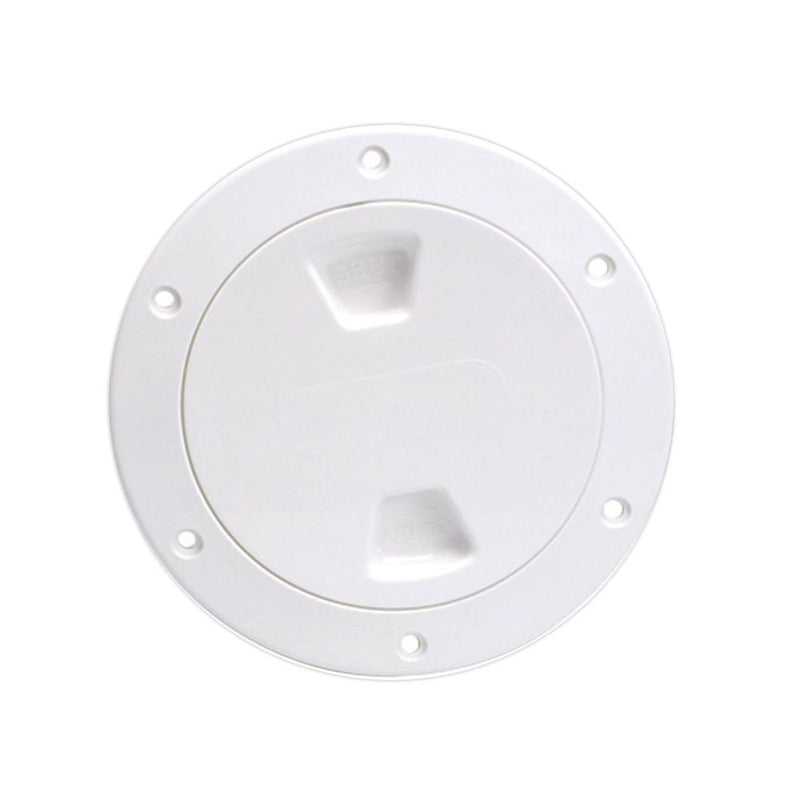 "Beckson 4"" Smooth Center Screw-Out Deck Plate - White - Lightship Marine Outfitters"
