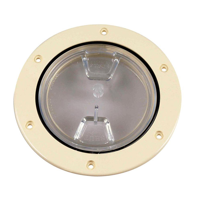 "Beckson 4"" Clear Center Screw-Out Deck Plate - Beige - Lightship Marine Outfitters"