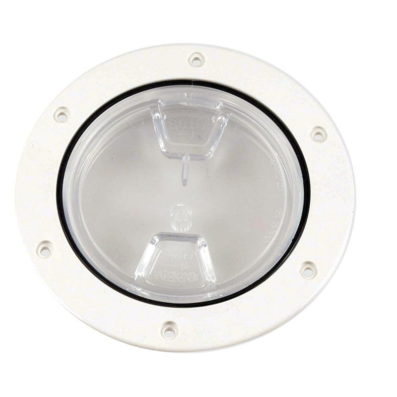 "Beckson 4"" Clear Center Screw-Out Deck Plate - White - Lightship Marine Outfitters"