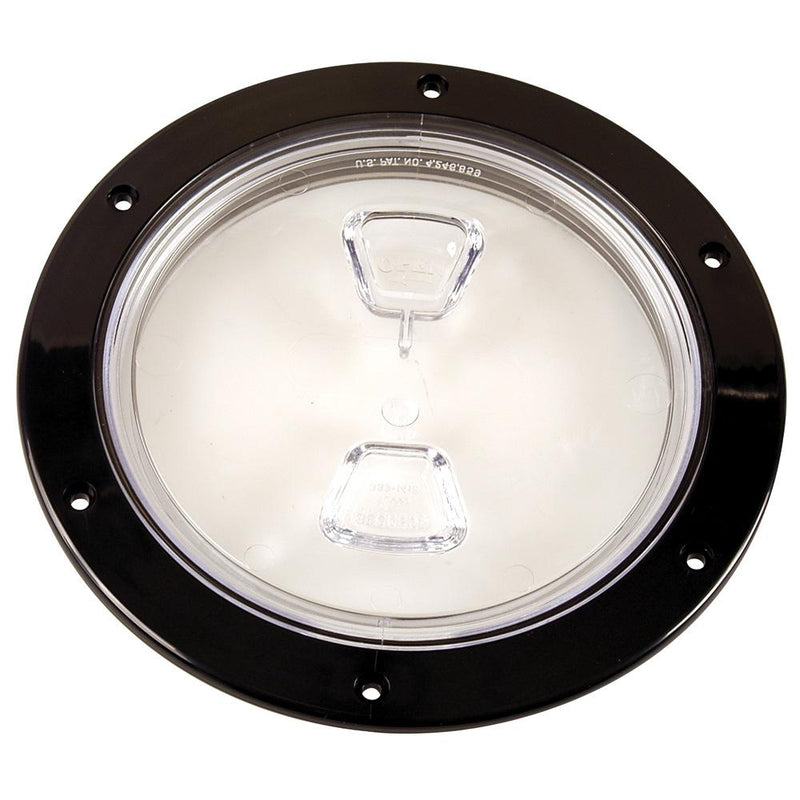"Beckson  6"" Clear Center Screw-Out Deck Plate - Black - Lightship Marine Outfitters"