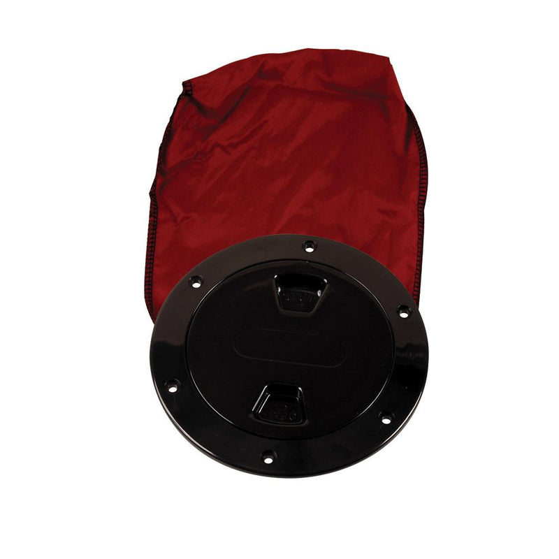 "Beckson 4"" Stow-Away Deck Plate - Black w-12"" Bag - Lightship Marine Outfitters"