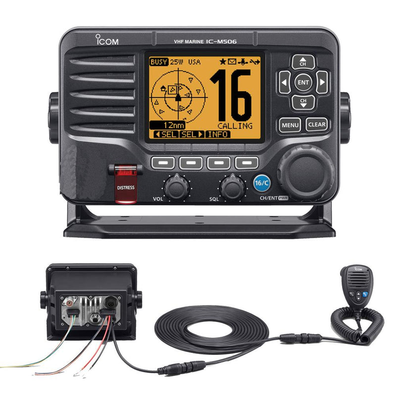 Icom M506 VHF Fixed Mount w-Rear Mic & NMEA 0183-2000® - Black - Lightship Marine Outfitters