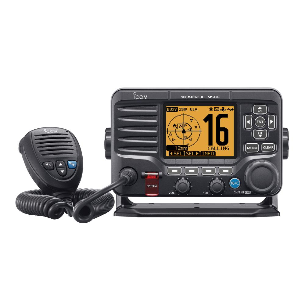 Icom M506 VHF Fixed Mount w-Front Mic, AIS & NMEA 0183-2000® - Black - Lightship Marine Outfitters