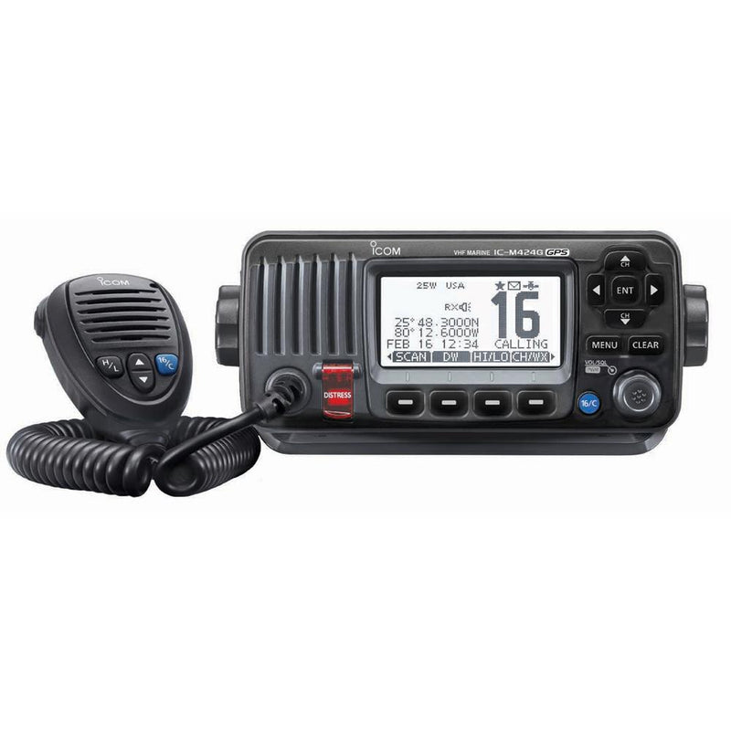 Icom M424G Fixed Mount VHF Marine Transceiver w-Built-In GPS - Black - Lightship Marine Outfitters