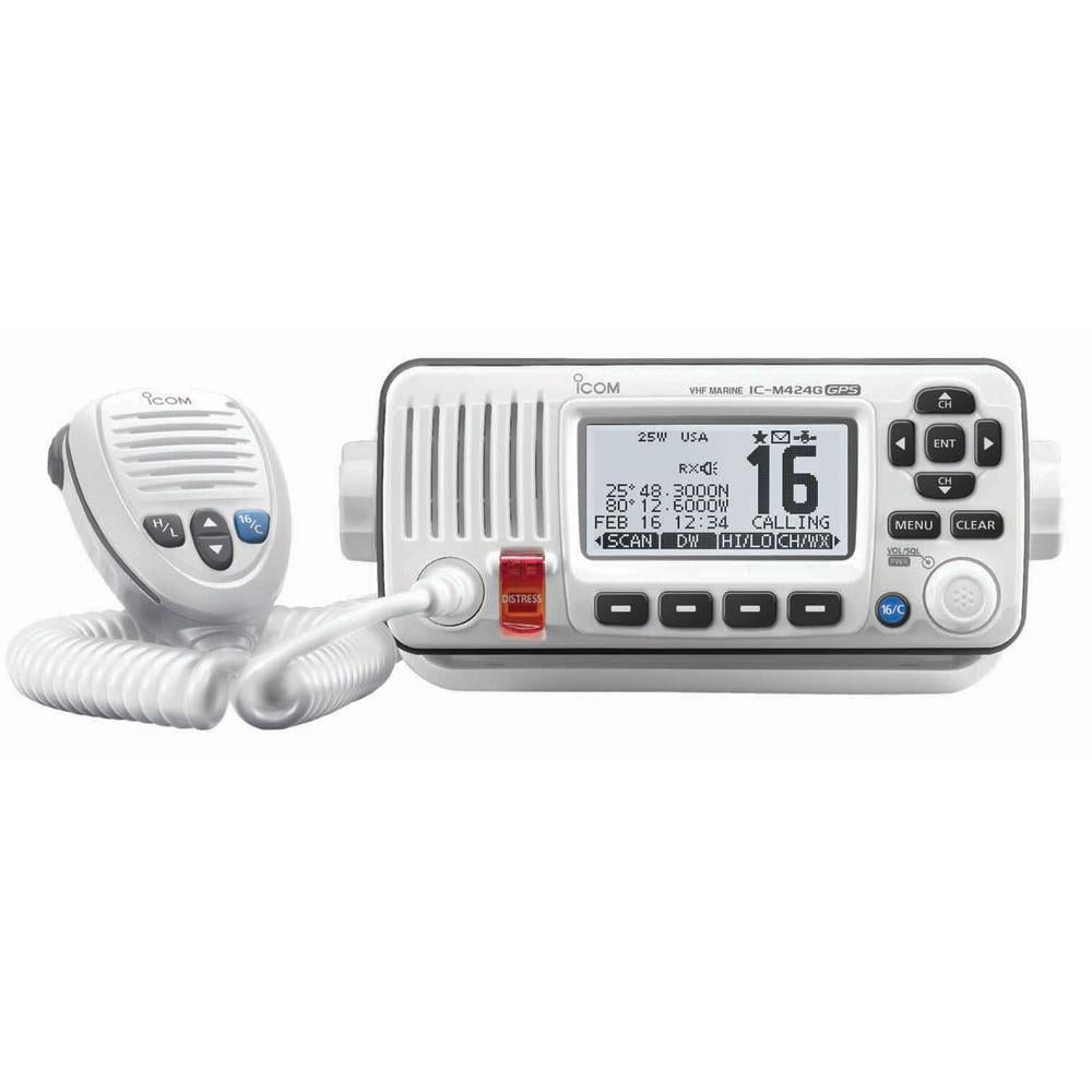 Icom M424G Fixed Mount VHF Marine Transceiver w-Built-In GPS - Super White - Lightship Marine Outfitters