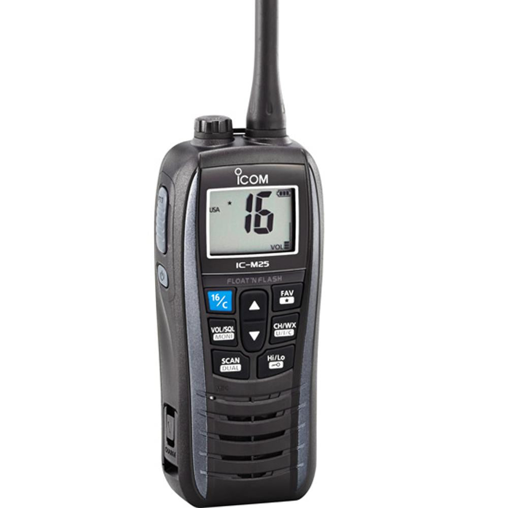 Icom M25 Floating VHF - Metallic Gray - 5W - Lightship Marine Outfitters