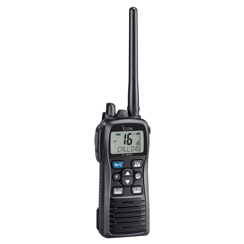 Icom M73 PLUS Handheld VHF - 6W - IPX8 Submersible - Active Noise Canceling, Built-In Voice Recorder - Lightship Marine Outfitters