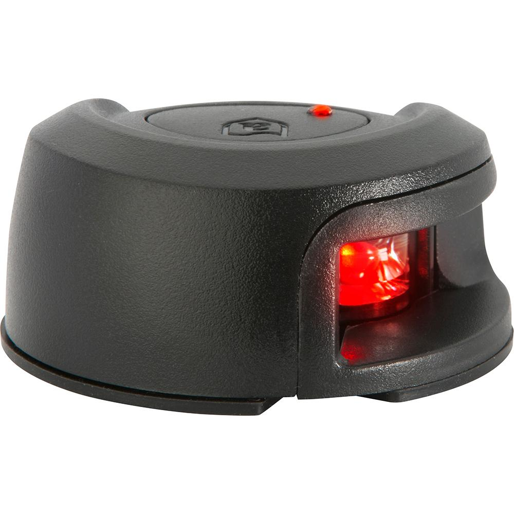 Attwood LightArmor Deck Mount Navigation Light - Black Composite - Port (red) - 2NM - Lightship Marine Outfitters