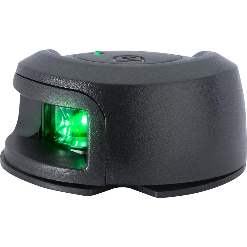 Attwood LightArmor Deck Mount Navigation Light - Black Composite - Starboard (green) - 2NM - Lightship Marine Outfitters