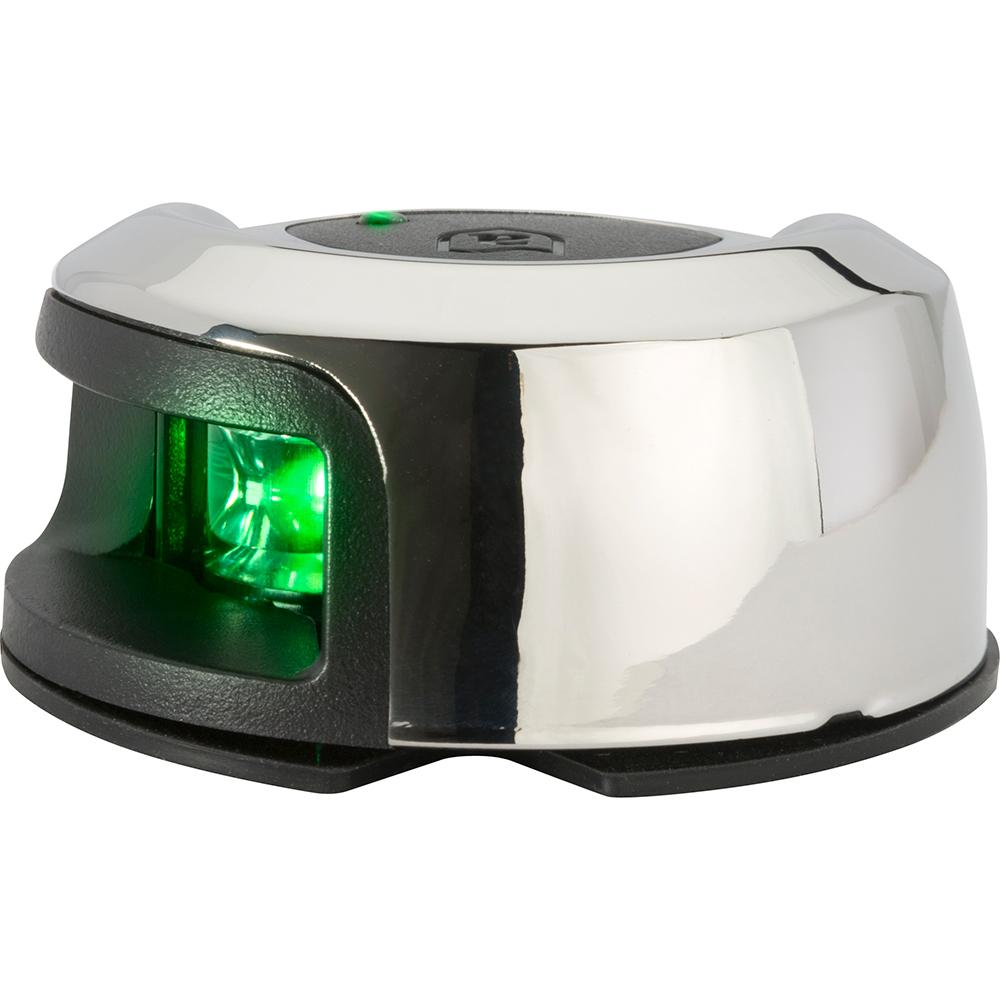 Attwood LightArmor Deck Mount Navigation Light - Stainless Steel - Starboard (green) - 2NM - Lightship Marine Outfitters