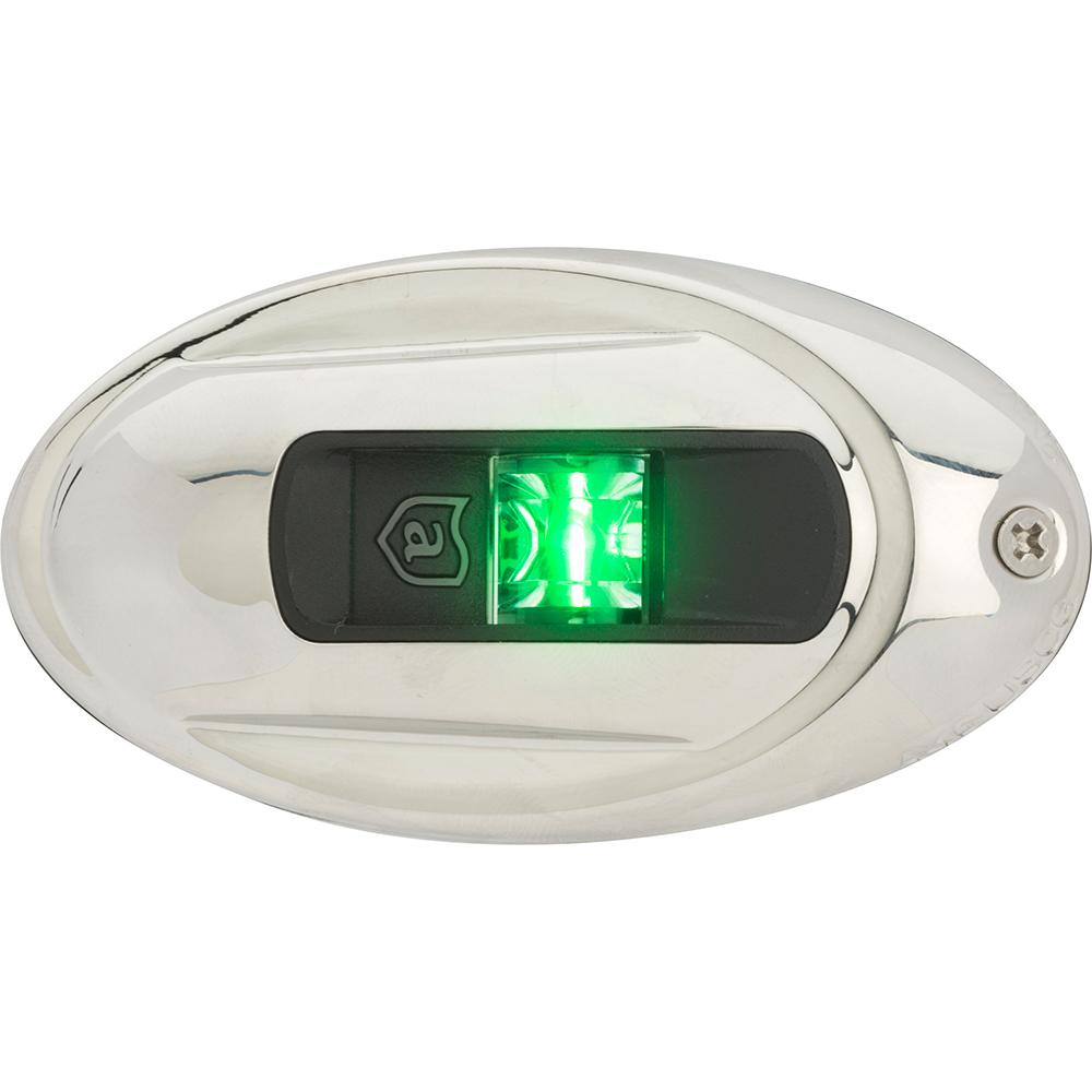 Attwood LightArmor Vertical Surface Mount Navigation Light - Oval - Starboard (green) - Stainless Steel - 2NM - Lightship Marine Outfitters