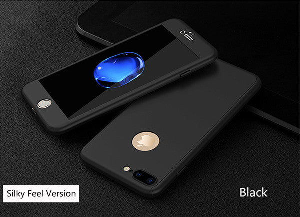 Fashion Hard Matte Cases For iPhone 6 Case 6S Plus iPhone 7 Case Plus 360 Degree Full Cover Plastic Tempered Glass Phone Cases