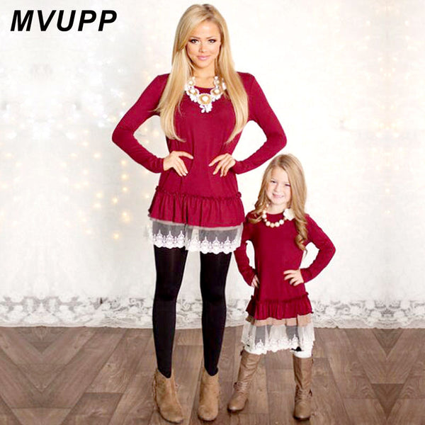 Mommy and Me Fashion Dresses MVUPP mother daughter dresses Lace Patchwork Red Solid long sleeves Family Matching Clothes TUNICS