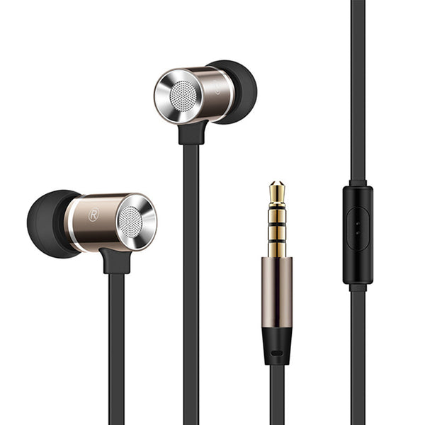OARIE Stereo Metal Earphones with Microphone Heavy Bass Headset Noise Canceling Earbuds for Mobile Phone iPhone PC Hi-Fi Sound