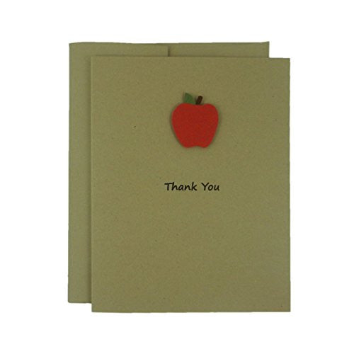 Apple Thank You Greeting Cards A2 Recycled Kraft Brown Card stock with Envelopes 10 Pack Note Cards - Embellish by Jackie