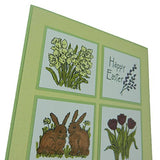 Easter Greeting Card - Happy Easter - Handmade Easter Card with Bunnies Flowers Tied with Green Ribbon - Embellish by Jackie
