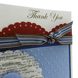 Handmade Thank You Greeting Card Dictionary Paper Flowers Blue and Red with Dots Scallop Circle Flowers - Embellish by Jackie