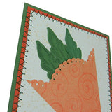 Spring Greeting Card - Handmade Greeting Card with Carrot - Welcome Spring Card - Green and Orange with stitched border - Carrot Greeting - Embellish by Jackie