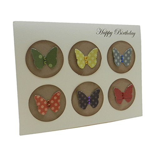 Handmade Birthday Greeting Card with kraft brown circles colorful butterflies and gemstones Birthday Card for female with envelope - Embellish by Jackie