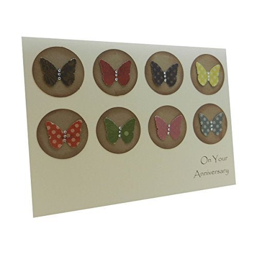 Handmade Wedding Anniversary Greeting Card with kraft Circles and Colorful Butterflies Gem Embellishments Envelope included 5 x7 inches - Embellish by Jackie