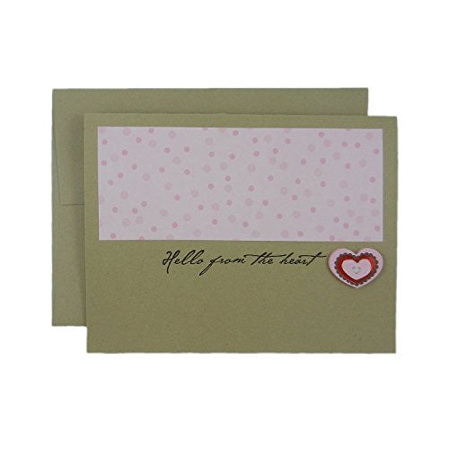 Hello from the Heart blank Kraft brown Valentine's Day Greeting Card with envelope - 10 Pack or single card - pink polka dots with heart - Embellish by Jackie
