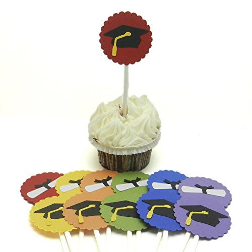 Graduation Cupcake Topper - Set of 12 - Graduation Cap and Diploma - Graduation Party Decorations - Choose you color - Graduation Hat or Cap - Embellish by Jackie