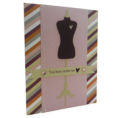 Love Greeting Card Handmade Dress form with Stolen Heart stripe pattern with envelope - Embellish by Jackie
