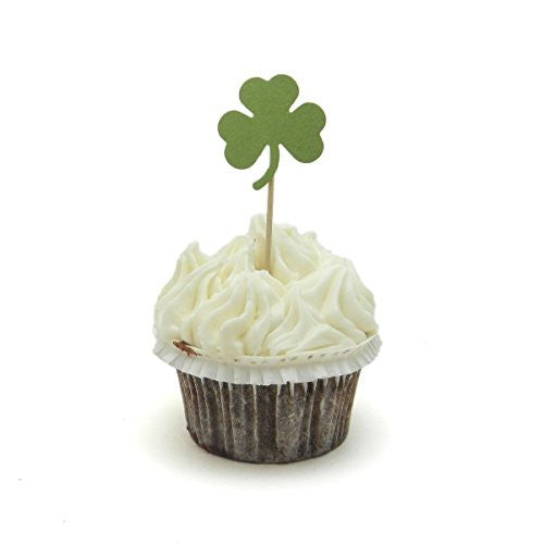 Shamrock Cupcake Topper - Set of 12 - St. Patrick's Day Decorations - Cupcake Toppers for St. Patrick's Day - Luck of the Irish - Handmade - Embellish by Jackie