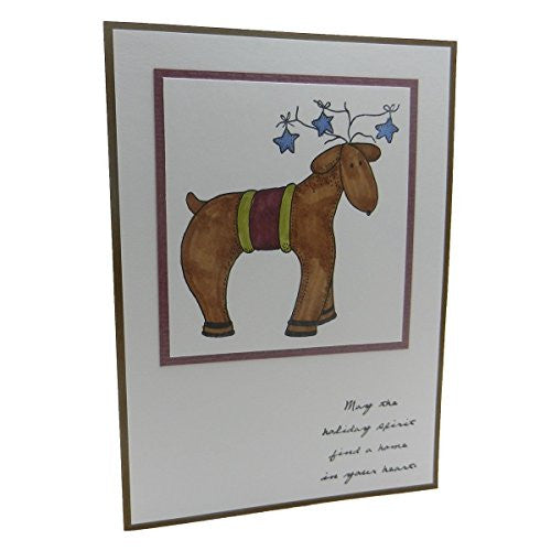 Handmade Winter Christmas Reindeer Greeting Card with Envelope Colored by hand - Embellish by Jackie